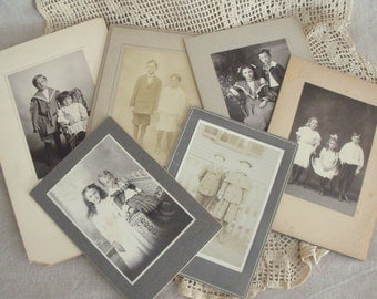 6 Antique Cabinet Card Photos Young Children Siblings