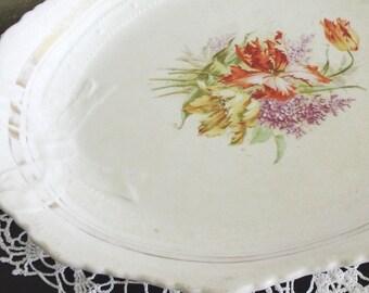 Vintage Floral Ironstone Platter    SALE - was 48.00
