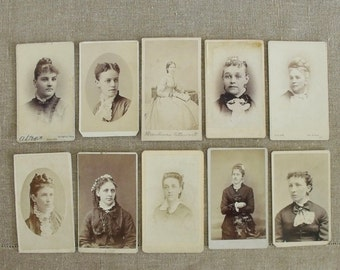10 Antique Carte de Visit Photos Ladies with Hairdos