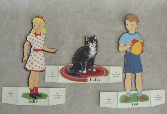 3 Vintage Old School Die Cut Classroom Primer Figures