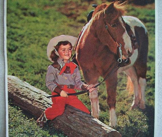 Cowgirl and her Pony Vintage Calendar Litho