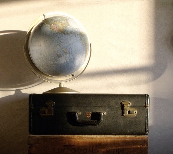 Been Around Antique Black Faux Leather Suitcase