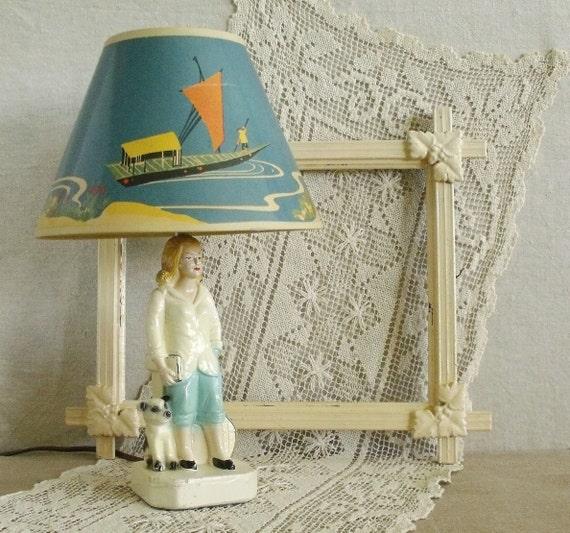 Girl with Dog Vintage Chalkware Lamp