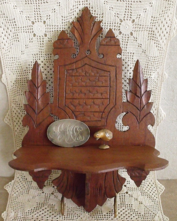 Antique Victorian Carved Walnut Wall Shelf By