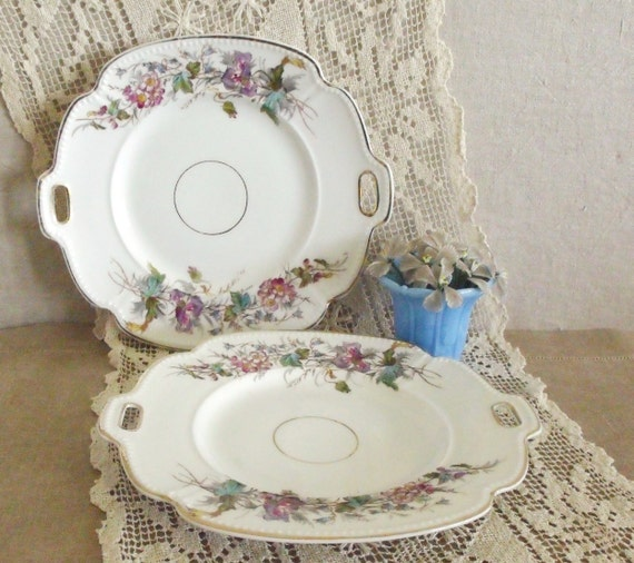 Pair of Vintage Hand Painted Porcelain Serving Platters with Flowers
