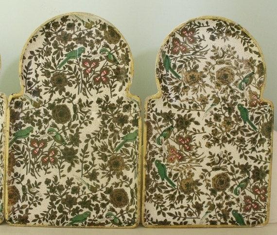 Set of 4 Vintage Paper Mache Exotic Chintz Snack Trays