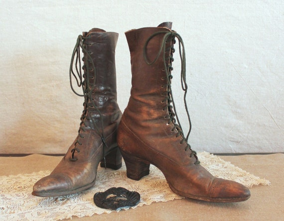 Antique Edwardian Leather Granny Boots