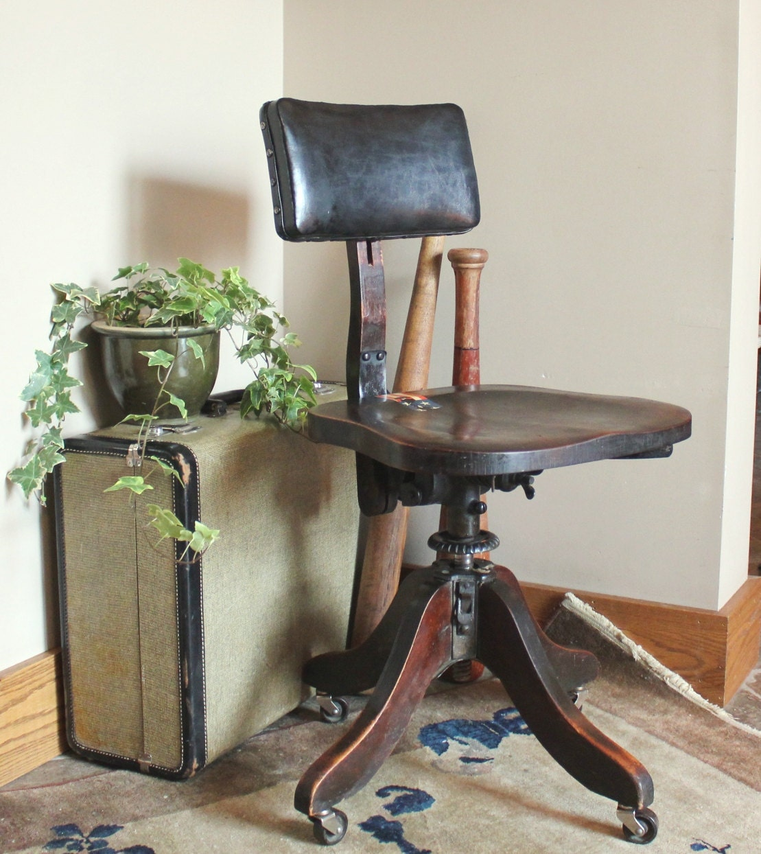 Antique Industrial Adjustable Swivel Office Chair By Heywood