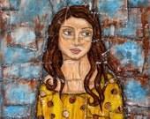 Reserved for Caroline H - Kayla - 12x12 inches - Rain Ririn's Original Folk Art Painting - Textured