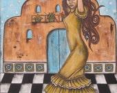 Frida Kahlo - 12 x16 inches - Rain Ririn's Original Folk Art Mixed MediaPainting