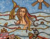 Jewel - 11.5 x 11.5 inches - Original Folk Art Painting