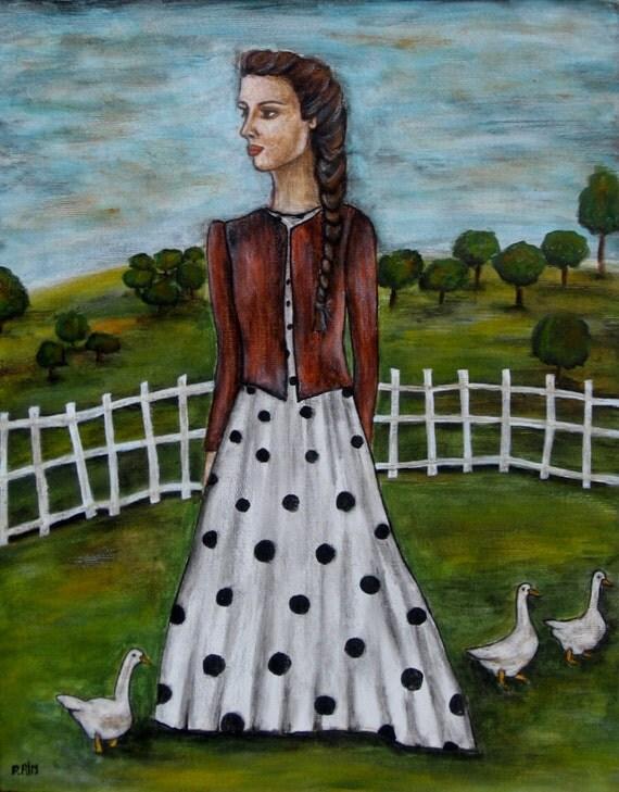 Wonderful Sunday - 11 x 14 inches - Rain Ririn's Original Folk Art Painting