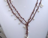 Reserved for David Wire Wrapped Freshwater Pearls on Suede Leather Lariat