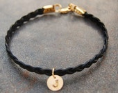 Black braided leather bracelet, personalized bracelet, Tired of Being Blonde