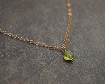 Peridot Necklace, Dainty Peridot Necklace, Peridot Necklace, Peridot and Gold Necklace, My Baby