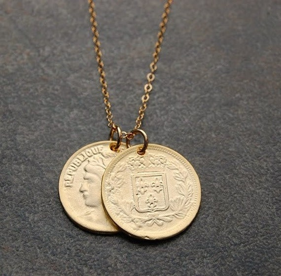french gold coin necklace fleur di lis necklace gold coin