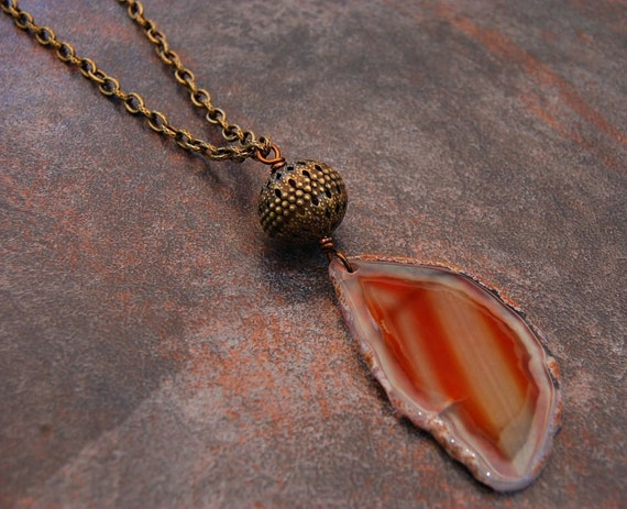 Long Tan Agate Necklace, Brown Agate and Antique Brass Necklace, Carmel Agate Necklace, Natural Boho Necklace, The End of the Road