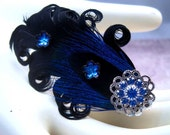 Iridescent Blue with Black Curled Feather Hair Clip- Silver and Swarovski Crystals and Vintage Czech Glass flowers