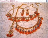 Sale 50% off Shiny  Orange Colors Hindi Full Parure