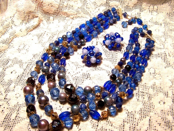 Celluloid Triple Strand Cluster  West German Styling Beads and Earrings