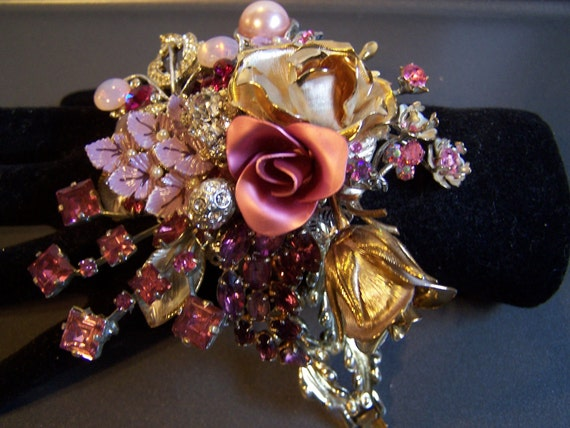 RESERVED A Rose is a Rose  Wristlet Corsage Bracelet Beautiful Enamels and Rhinestones