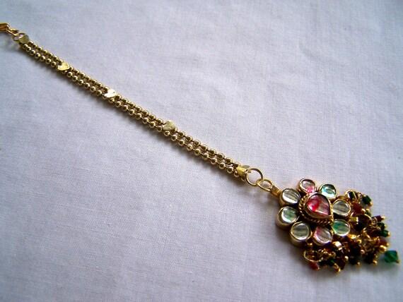 Sparkle and Shine Art Glass  Tikka Head Piece Gold tones