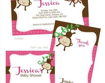 Pink/Chocolate Brown Monkey Girl Baby Shower