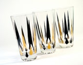 Black and Gold High Balls - Set of 3