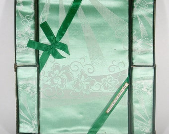 Green Damask Bridge Cloth & Four Napkins BOXED