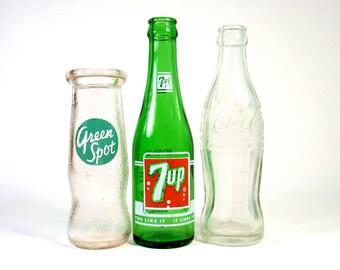 Vintage Pop Bottles - Mix of 3