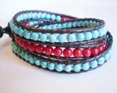 Leather Wrap Bracelet 3X Turquoise Magnesite Bamboo Coral
