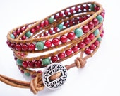 Leather Wrap Bracelet Red Riverstone Turquoise Wild Wild West