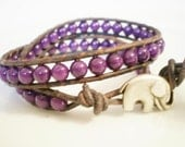 Leather Wrap Bracelet Purple Radiant Orchid Mountain Jade with Elephant