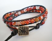 Gemstone Bracelet Orange Bracelet Wrap Bracelet Gemstone Bracelet