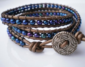 Three (3 x) Wrap on Bronzed Leather with Czech Glass beads