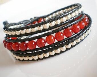 Koi Bracelet Gem Wrap Bracelet 3X Carnelian w Silver     Plated Beads