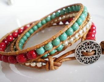 Southwest Leather Wrap Red Riverstone Turquoise Magnesite FREE SHIPPING USA
