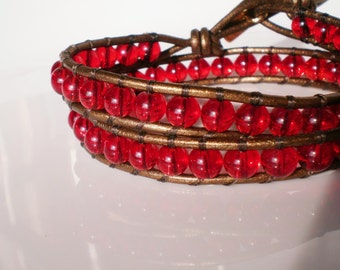 Red Bracelet Glass Bracelet Red n Gold Bracelet