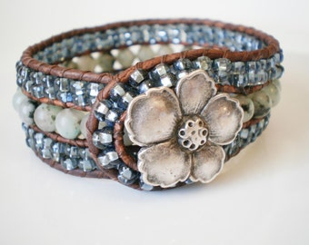 Beadwork Leather Cuff Bracelet Sesame Jasper with Apple Blossom