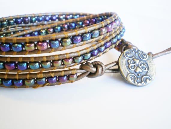 Leather Wrap Bracelet 3X Triple Wrap Blue Iris Czech Glass on Bronzed Leather