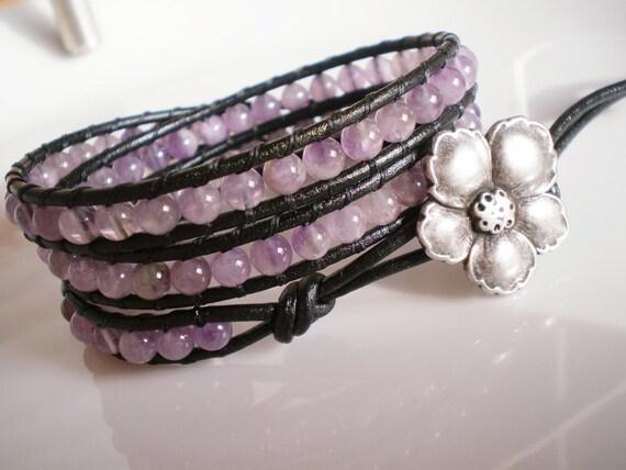 Amethyst Leather Wrap Bracelet on Black Leather w Flower