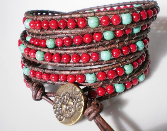 Leather Wrap Bracelet Beaded Leather Cuff Red and Turquoise Southwestern Jewelry