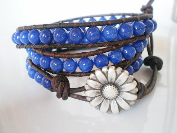 BlueDaisy Leather Wrap Bracelet Mountain Jade and Daisy