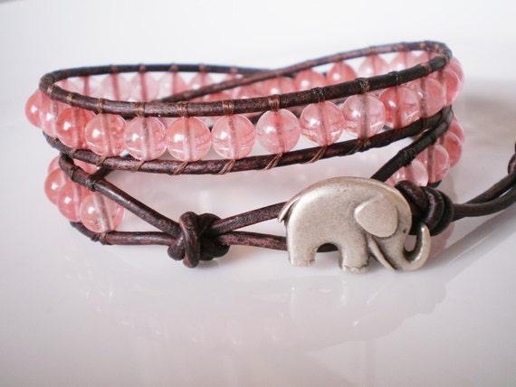 Cherry Quartz Double Wrap Bracelet w Elephant Button