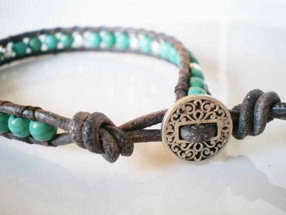 Single Leather Wrap Bracelet Turquoise Magnesite