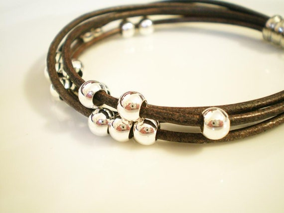 5 Strand Leather Bracelet w Silver Plated Beads & Clasp
