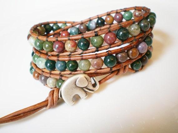 Leather Wrap Bracelet 3X Fancy Jasper with Elephant