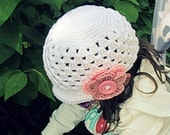 Crochet Beanie Hat with Interchangeable Flower and Brim Newborn to Tween Size  (made to order)