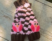 Leg Warmers Crochet Newborn to Toddler Owl Leg Warmers MADE TO ORDER You choose the color