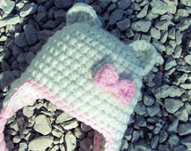 Baby Girl Bear Crochet Hat with Bow, 0-3 mos, 3-6 mos or 6-12 mos Bear Hat Chunky Yarn made to order